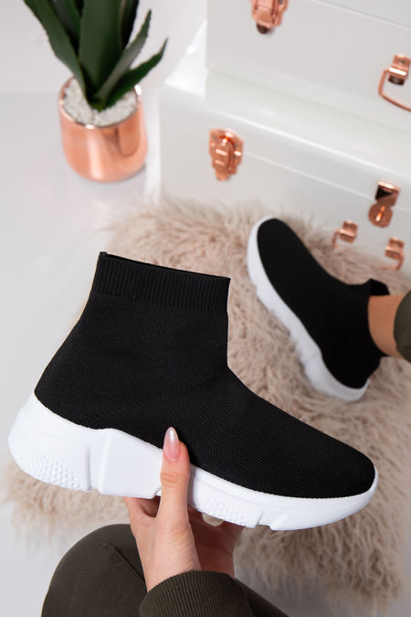 Milan White sole Stretch Black Knit High Top Sock Trainers