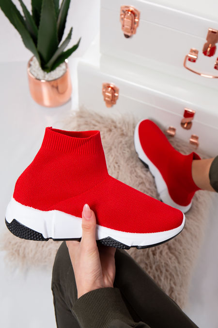 Milan Red Stretch Knit High Top Sock Trainers