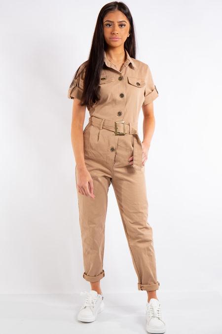 Maryam Camel Military Utility Boiler Jumpsuit