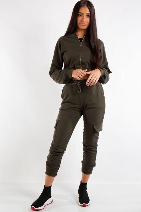 Mira Khaki Crop Zip Top and Cargo Pants Loungewear set