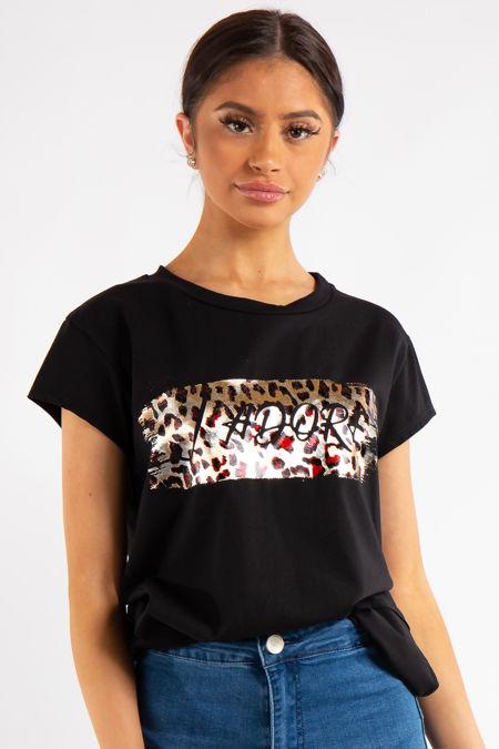 Giuliana Black Leopard J'dore Print T Shirt