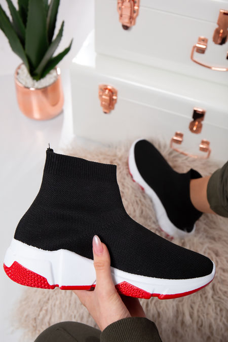 Milan White/Red sole Stretch Black Knit High Top Sock Trainers