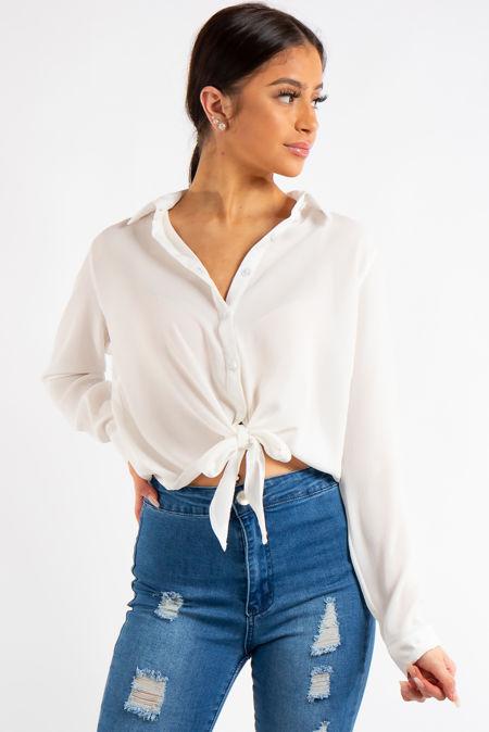 Leona White Chiffon Tie Up Shirt