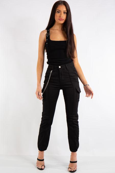 Kim Black Cargo Chain Trousers