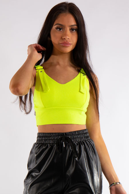 Macy Yellow Neon Ribbed Buckle Strap Detail Crop Top