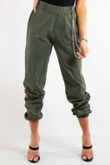Skyla Khaki Jogger Cargo Trousers