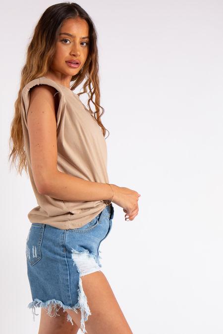 Judith Camel Padded Shoulder T-Shirt