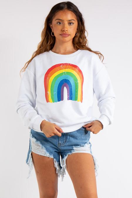 Rainbow White Sweatshirt
