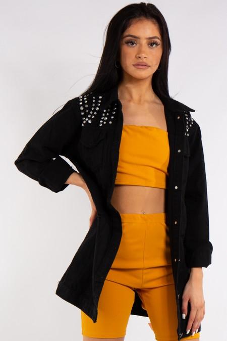 Black Diamanté Long Distressed Denim Jacket