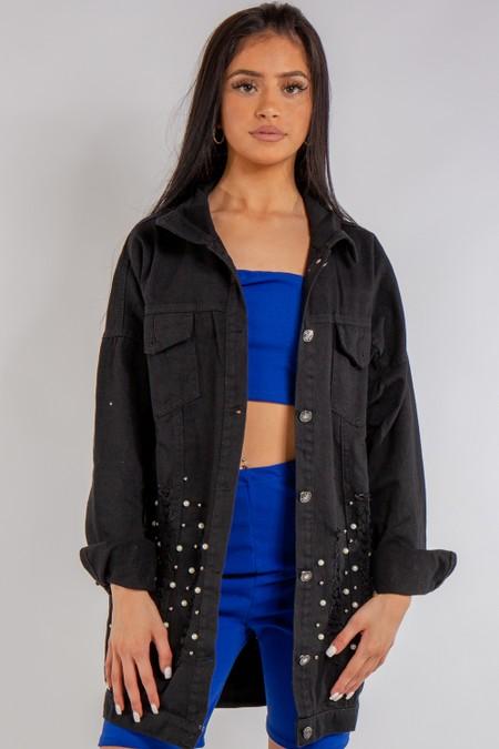 Black denim Long Distressed Denim Jacket