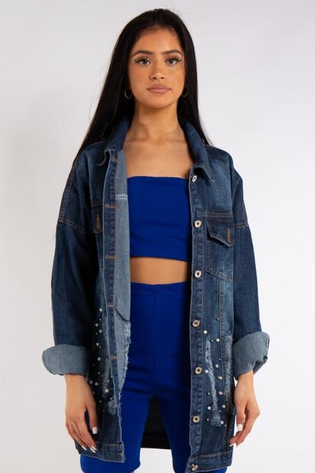 Dark Blue Denim Long Distressed Denim Jacket