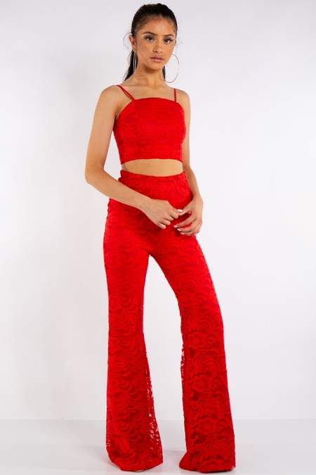 Red Lace Crop Top & Trouser Co-Ord Set