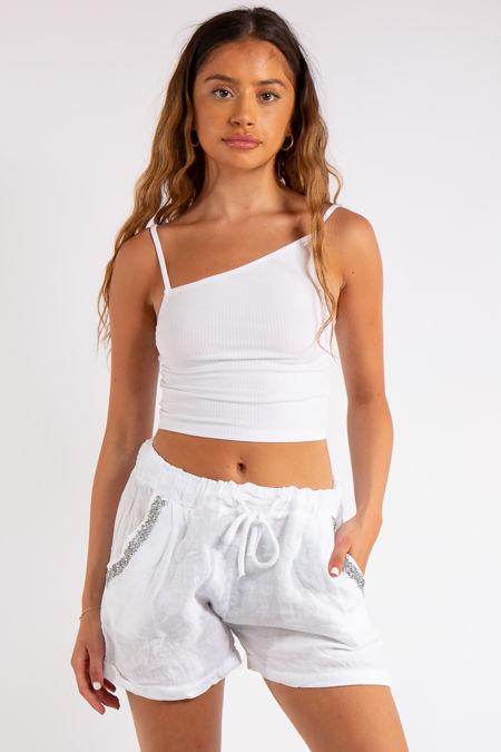 Joyce White Linen Bling Shorts
