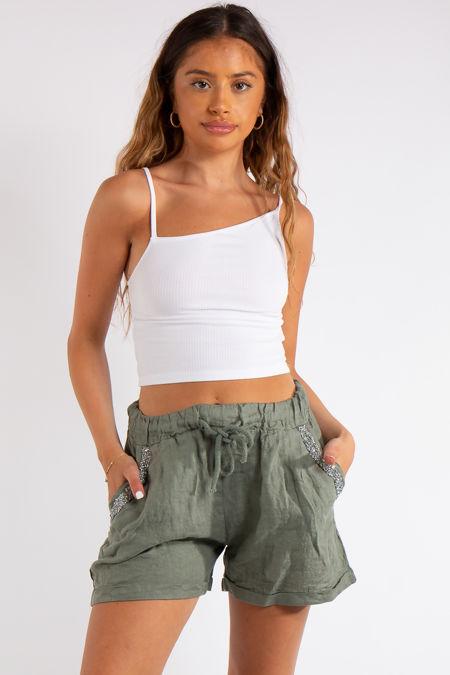 Joyce Khaki Linen Bling Shorts