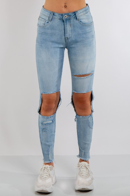 Denim Ripped High Waist Jeans