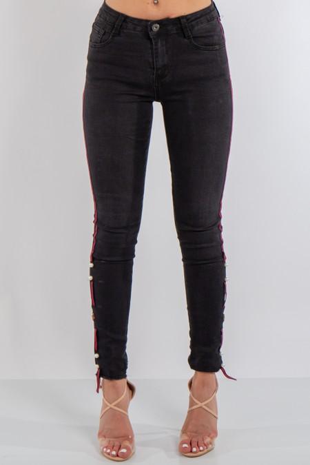 Black Denim Side Stripe Jeans