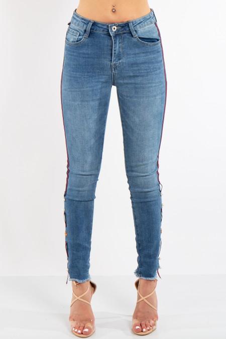Blue Denim Side Stripe Jeans