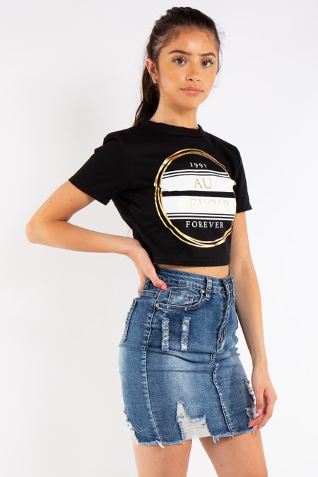 Black Au Revoir Cropped T-Shirt