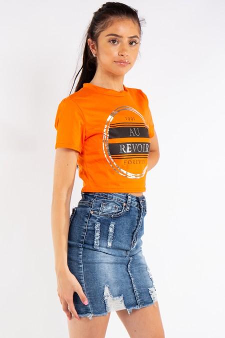 Orange Au Revoir Cropped T-Shirt