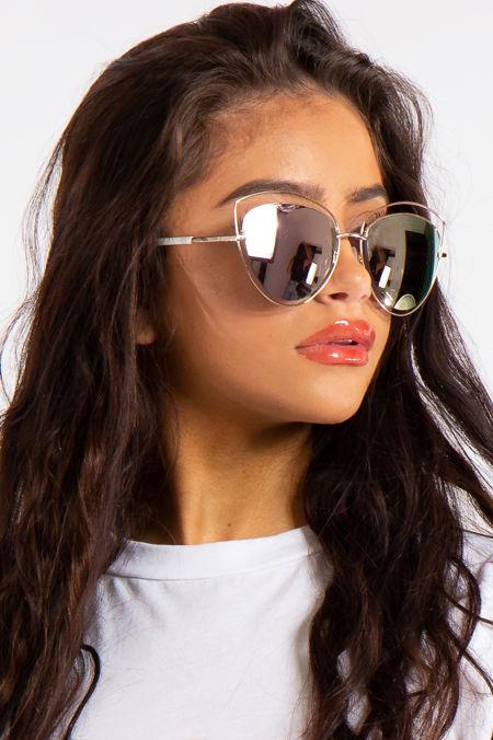 Collins Gold Bar Rose Outlined Bar Aviator Sunglasses
