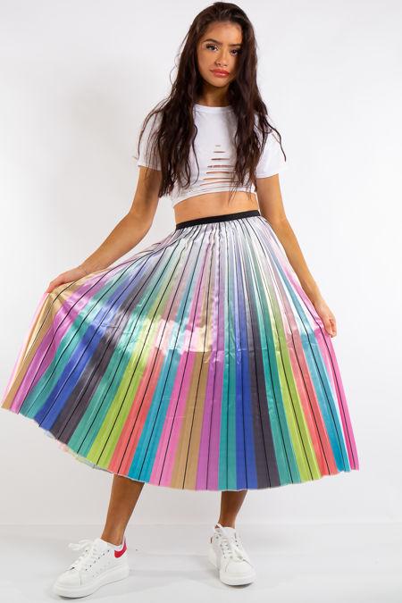 Jazmine Satin Rainbow Pleated Midi Skirt