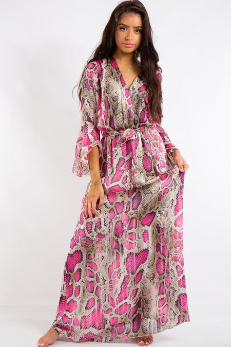 Jamie Pink Neon Snake Print Chiffon Maxi Dress