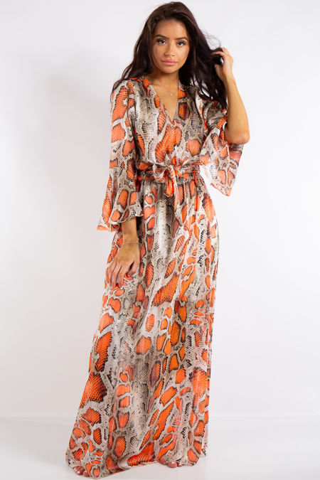 Jamie Orange Neon Snake Print Chiffon Maxi Dress