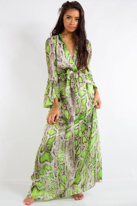 Jamie Green Neon Snake Print Chiffon Maxi Dress