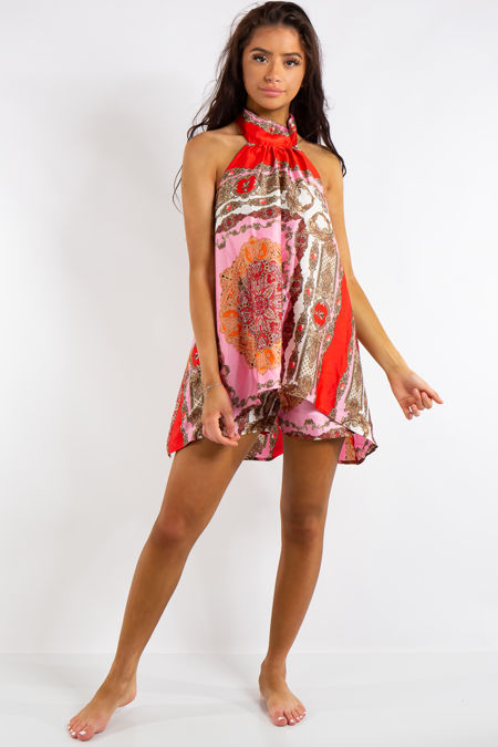 1b8f8caf5d4b Megan Pink Satin Printed Halter Neck Sleeveless Shorts Coord Set