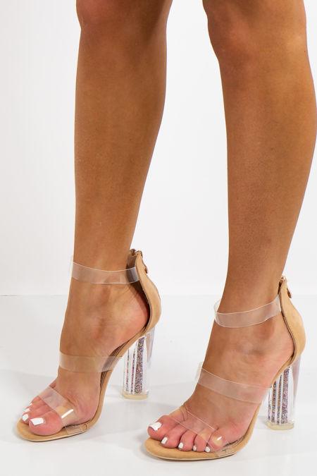 Kyleigh Beige Faux Suede Glitter Perspex Heels