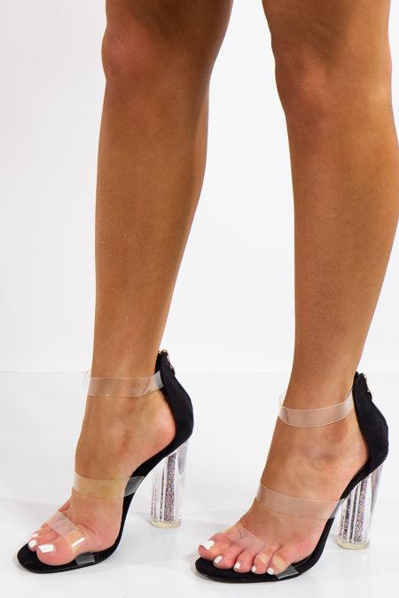 Kyleigh Black Faux Suede Glitter Perspex Heels