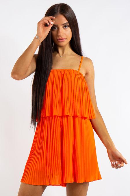 Kyra Orange Pleated Chiffon Ruffle Playsuit