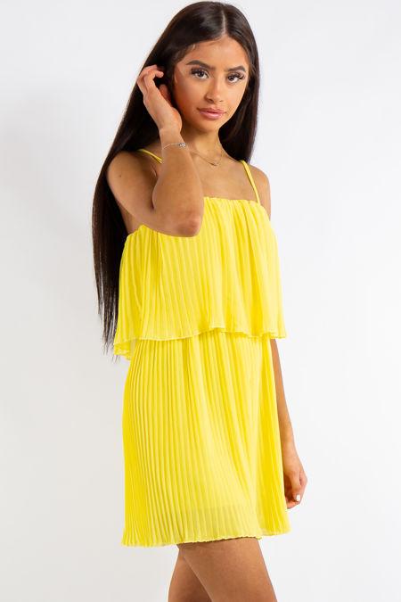Kyra Yellow Pleated Chiffon Ruffle Playsuit