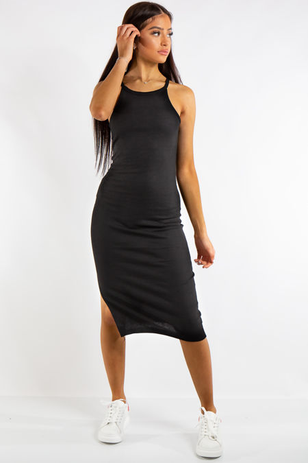 Jessie Black Ribbed Split Midi Dress