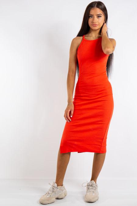 Jessie Red Ribbed Split Midi Dress