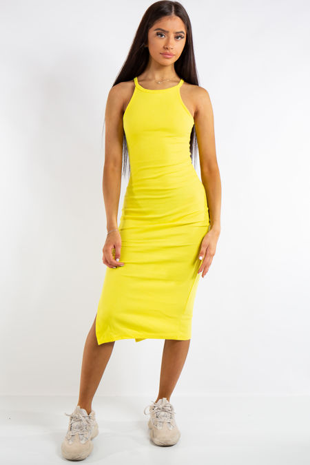 Jessie Yellow Ribbed Split Midi Dress