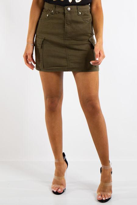 Charli Khaki Cargo Style Mini Skirt