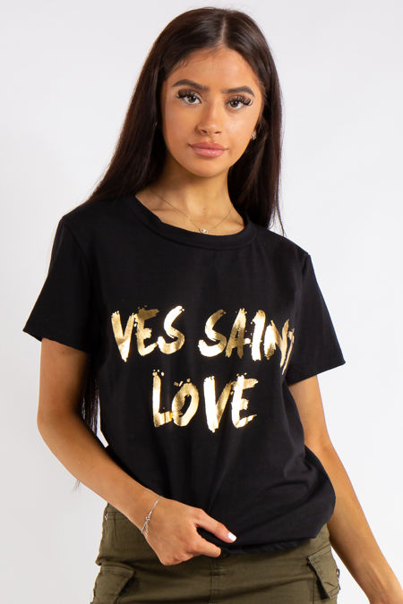 Black Yves Saint Love Print TShirt