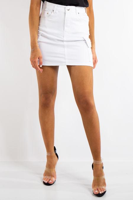 Charli White Cargo Style Mini Skirt