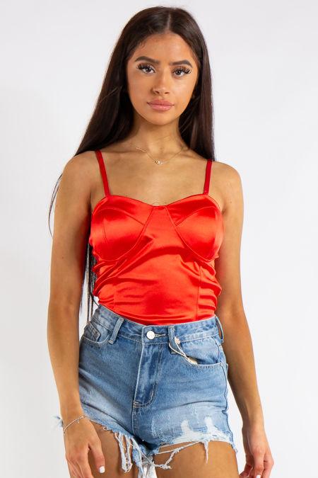 Azalea Red Satin Bodysuit