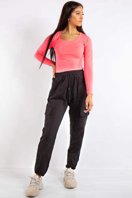 Anne Black Casual Cargo Joggers