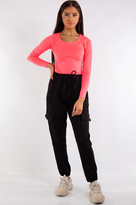 Esma Neon Pink Plain Scoop Neck Bodysuit