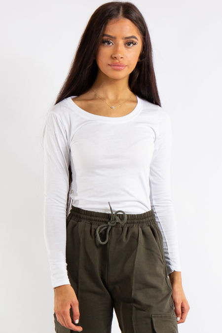 Esma White Plain Scoop Neck Bodysuit