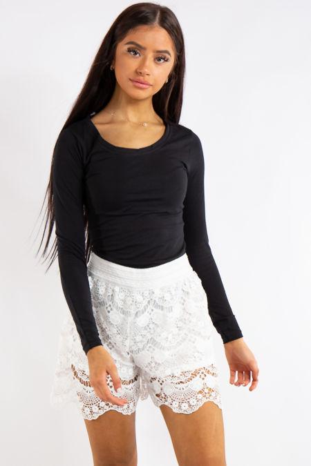 Liberty White Crochet Mini Shorts