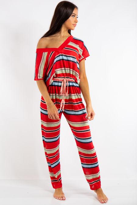 Alaya Red Summer Stripe Jumpsuit