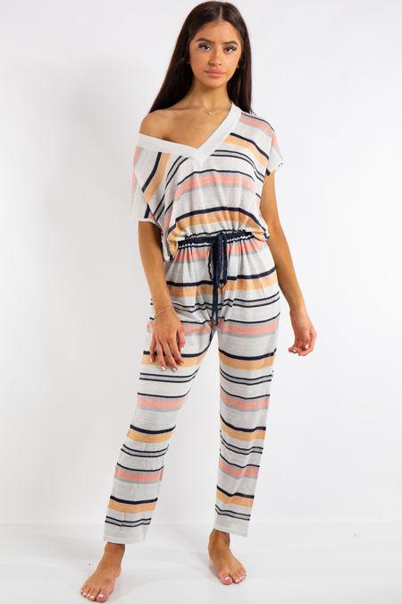 Alaya White Summer Stripe Jumpsuit