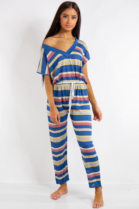 Alaya Blue Summer Stripe Jumpsuit
