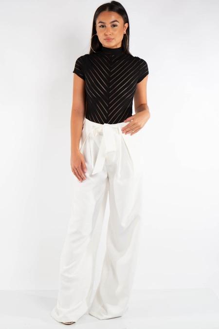 White Wide Leg High Waist Belt Trousers