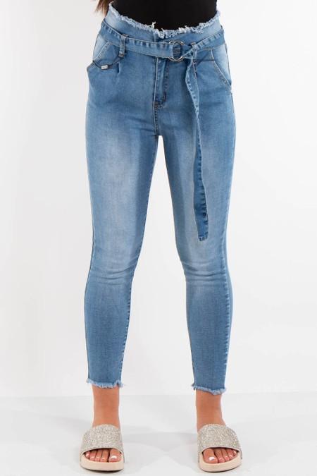 Denim High Waist Paperbag Jeans