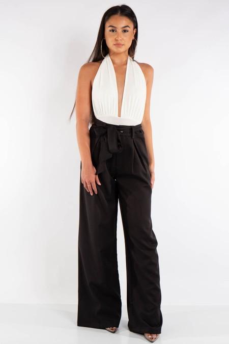 Black Wide Leg High Waist Belt Trousers